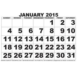Low Vision Calendar - 2015