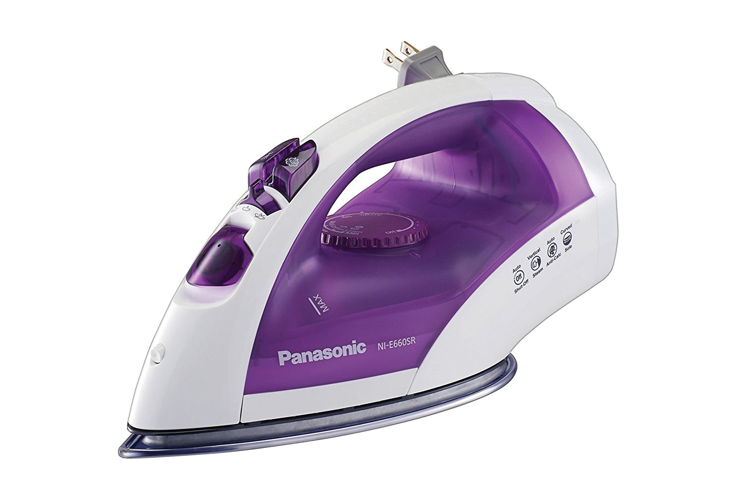 Steam Circulating Iron w-Curved, Non-Stick Stainless-Steel Soleplate