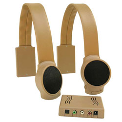 Wireless TV Listening Speakers - Tan