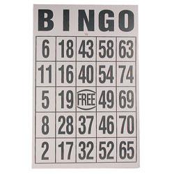 Giant Print Bingo Card - Black on White Background