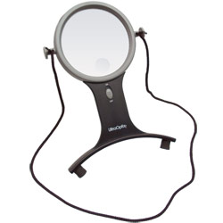 UltraOptix Lighted Hands-Free Magnifier- 2.5x with 6x Bifocal