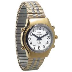 Mens Royal Tel-Time Talking Watch - White Dial - Expansion Band