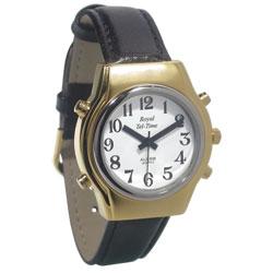 Mens Royal Tel-Time Talking Watch - White Dial - Black Leather Band