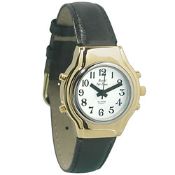 Ladies Royal Tel-Time Talking Watch - White Dial - Black Leather Band