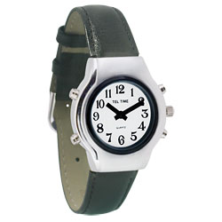 Tel-Time Ladies Chrome Talking Watch - White Face, Leather Band