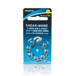 HearMore Hearing Aid Batteries- Size 10- 8-pack