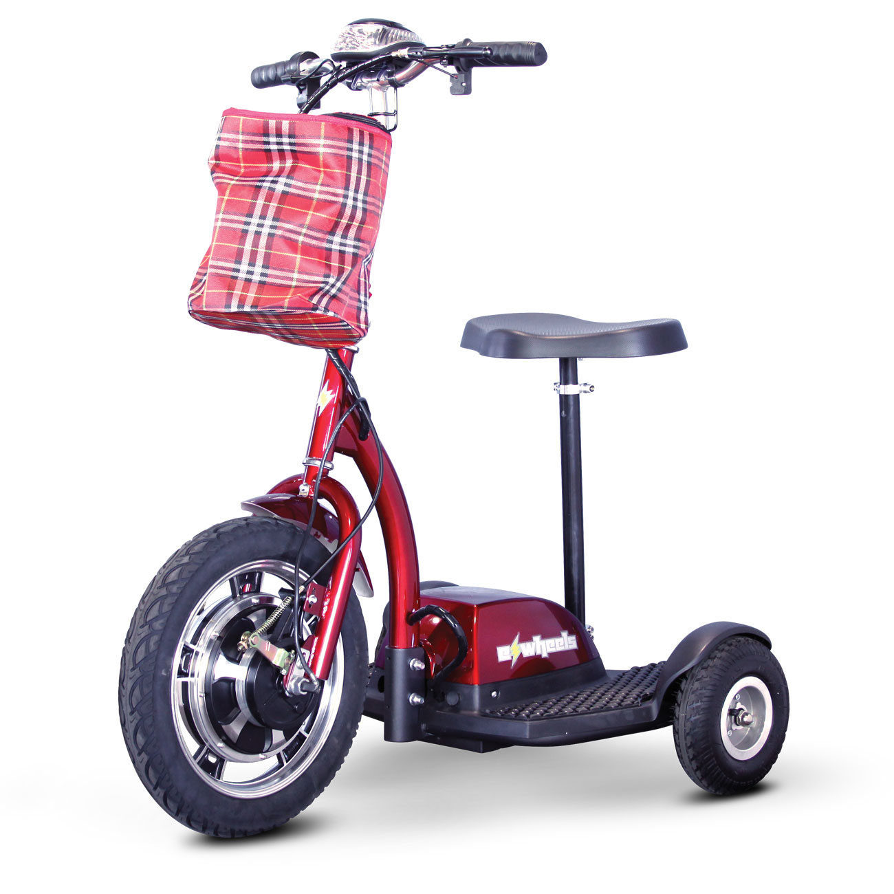 E-Wheels EW-18 Stand-N-Ride 3-Wheel Electric Mobility Scooter- Red