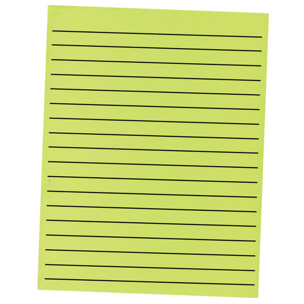 Thick Line Paper Pad in Neon Green with Black Lines - 90 Sheets