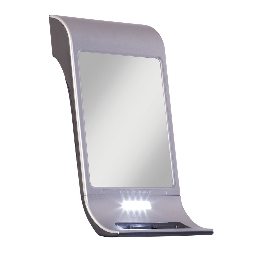 Z-Fogless Touch Water Mirror with Squeegee - Silver-Tone Finish