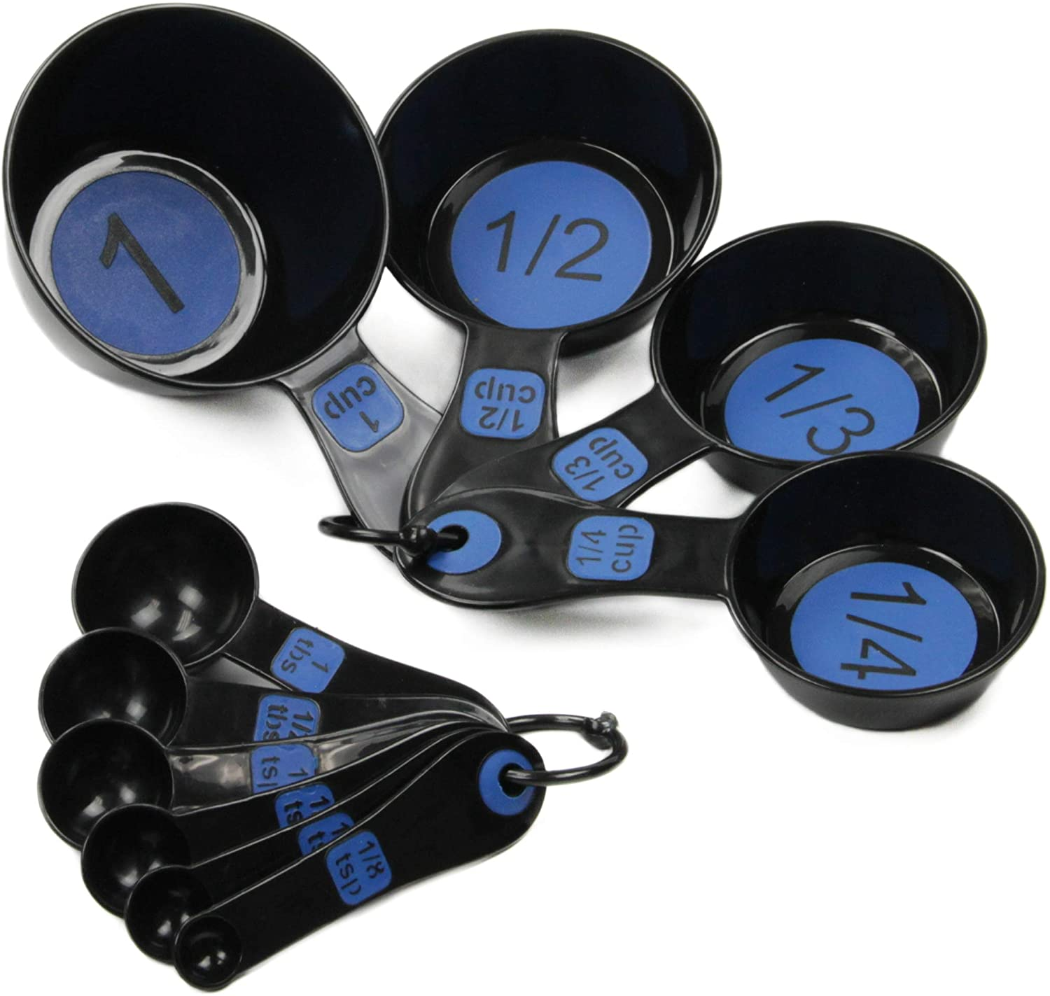 Black and Blue Measuring Cups and Spoons