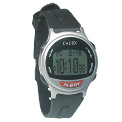 The e-pill Cadex 12 Alarm Medication Reminder Watch - Silver - click to view larger image