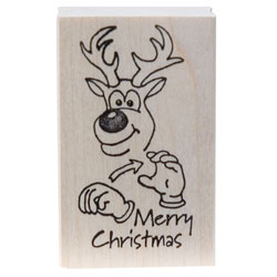 Rubber Stamp - Merry Christmas Reindeer