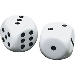 Low Vision Large Dice - White with black dots - click to view larger image