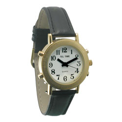 Ladies Tel-Time Talking Watch-Golden-Wht Dial-Leath - click to view larger image