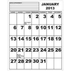 Jumbo Print Calendar - 2013 - click to view larger image