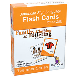 Sign2Me Flash Cards- Beginners Series- Family, Clothing and Toileting Pack - click to view larger image