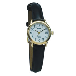 Timex Indiglo Watch Ladies Gold-Tone with Leather Band - click to view larger image