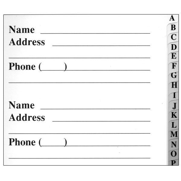printable phone book template