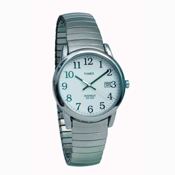 timex indiglo watch mens chrome with expansion band low