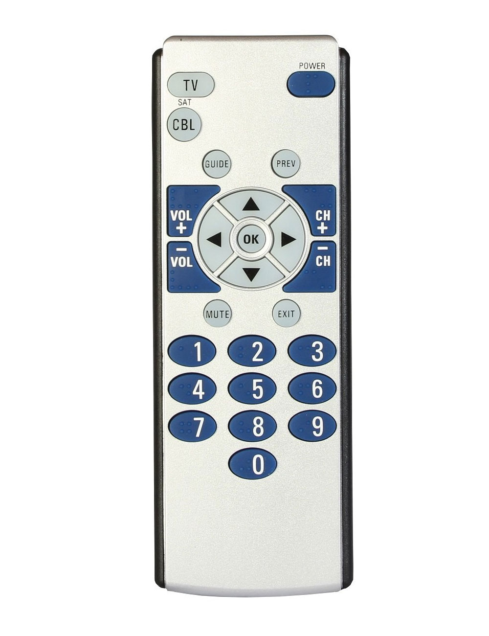 Big Button 2-Device Braille Universal Remote Control and Locator Stand