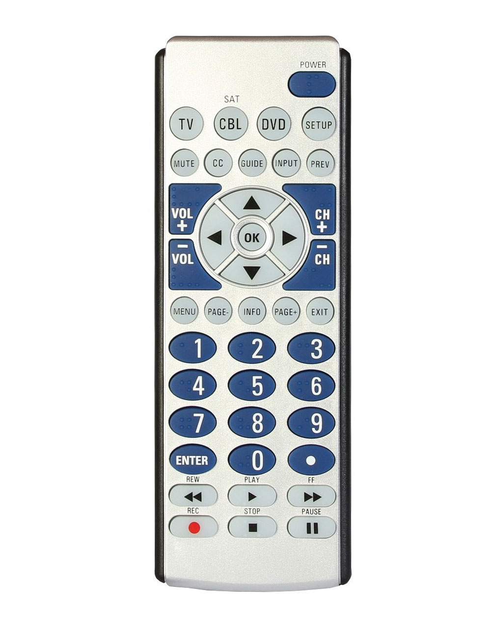 Big Button 3-Device Braille Universal Remote Control and Locator Stand