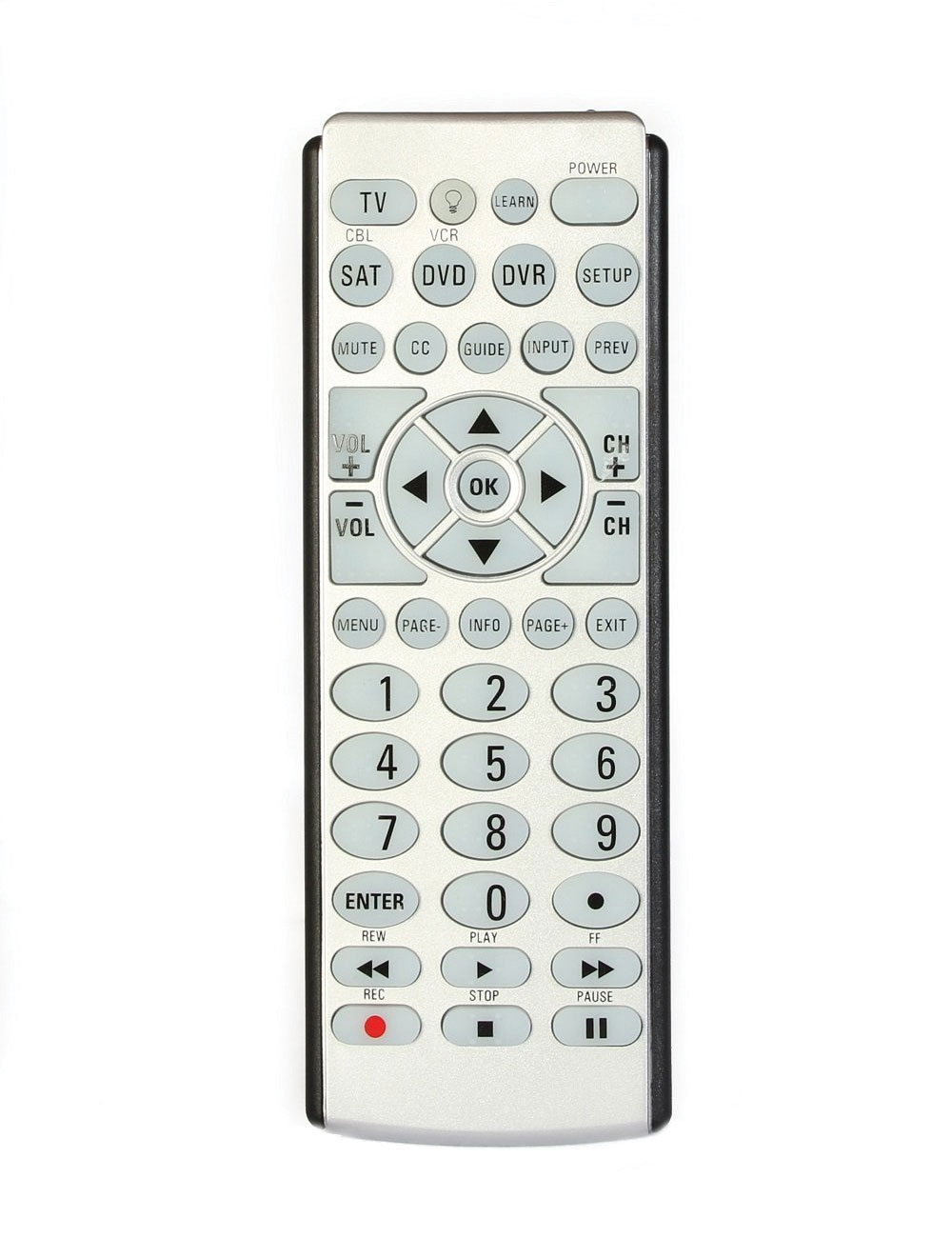 Big Button 4-Device Braille Universal Remote Control and Locator Stand