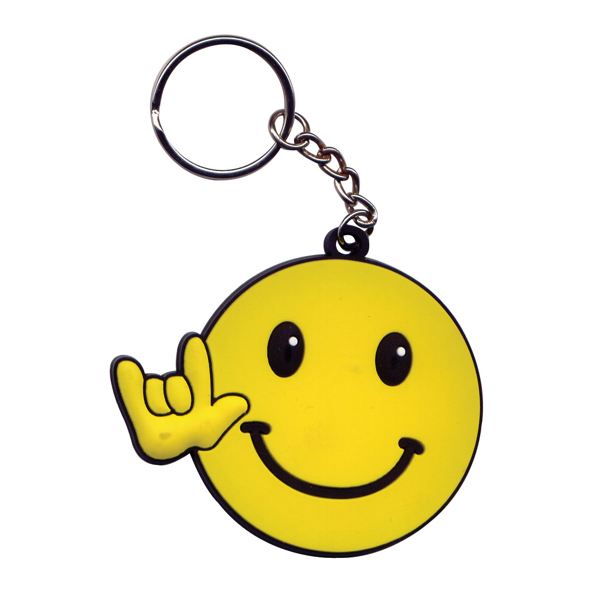 Smiley Face w-Hand Signing ILY Keychain