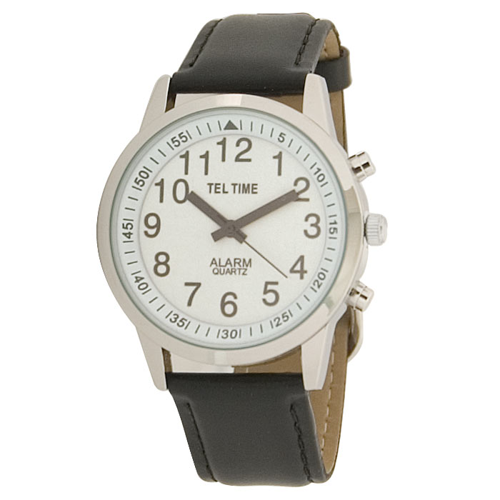 Mens Touch Talking Watch - Large Face - Leather Band - Spanish