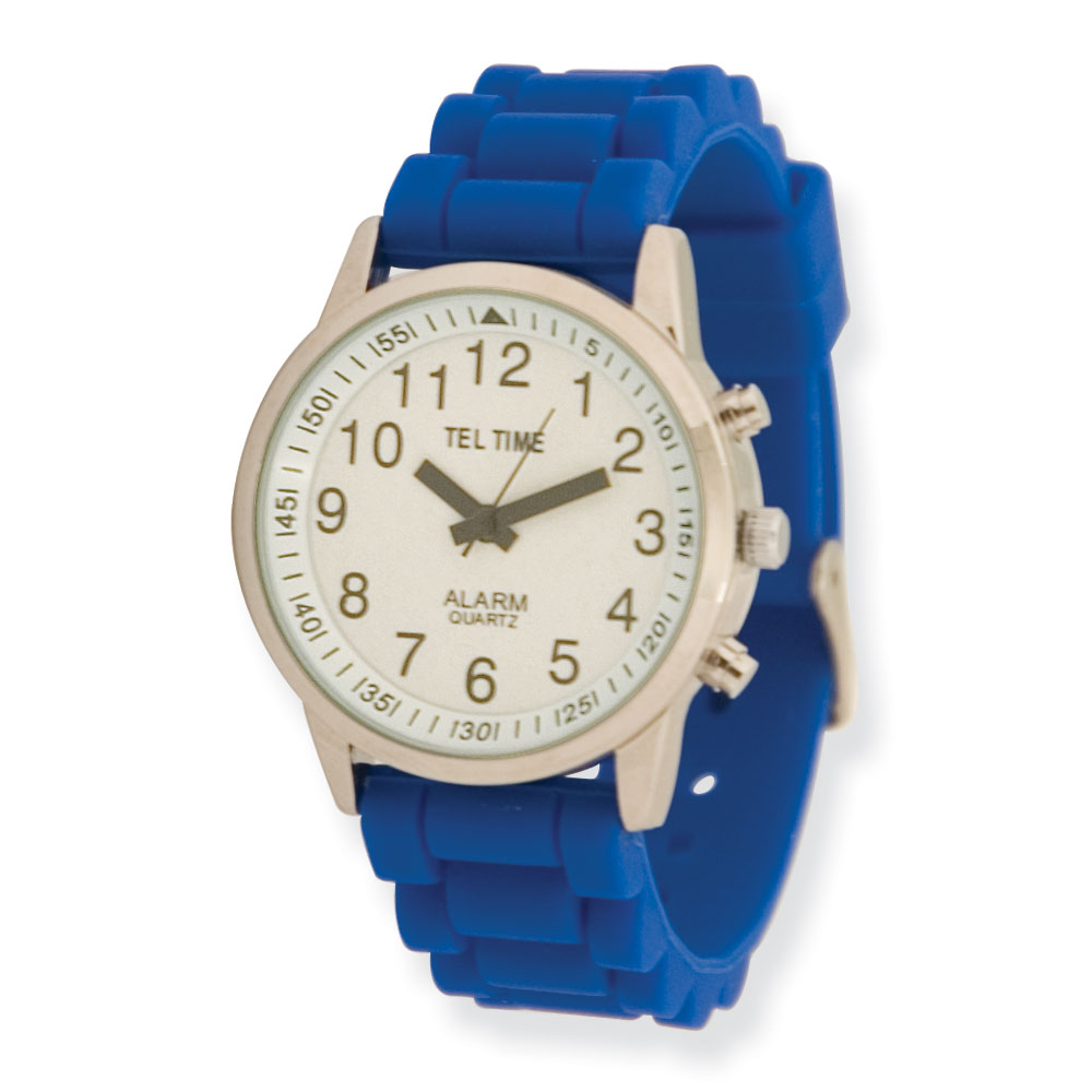 Ladies Chrome Touch Talking Watch - Royal Blue Rubber Band