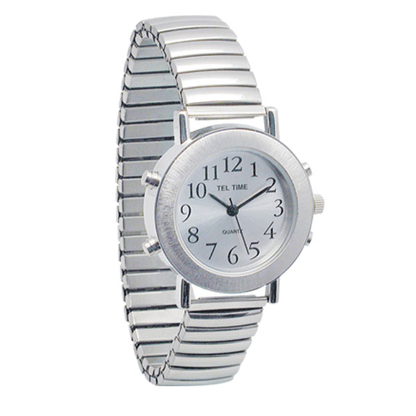 Ladies Tel-Time Chrome Talking Watch with Chrome Expansion Band