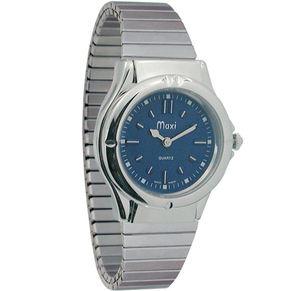 Mens Sports Braille Watch - Chrome Expansion Band