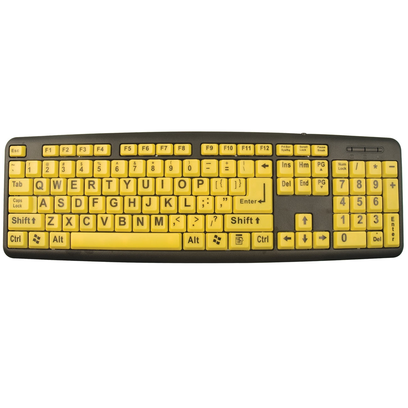 EZ Eyes Large Print Keyboard- Black on Yellow