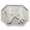 Hexagon-Shaped Pin with Interpreter Symbol - Silver