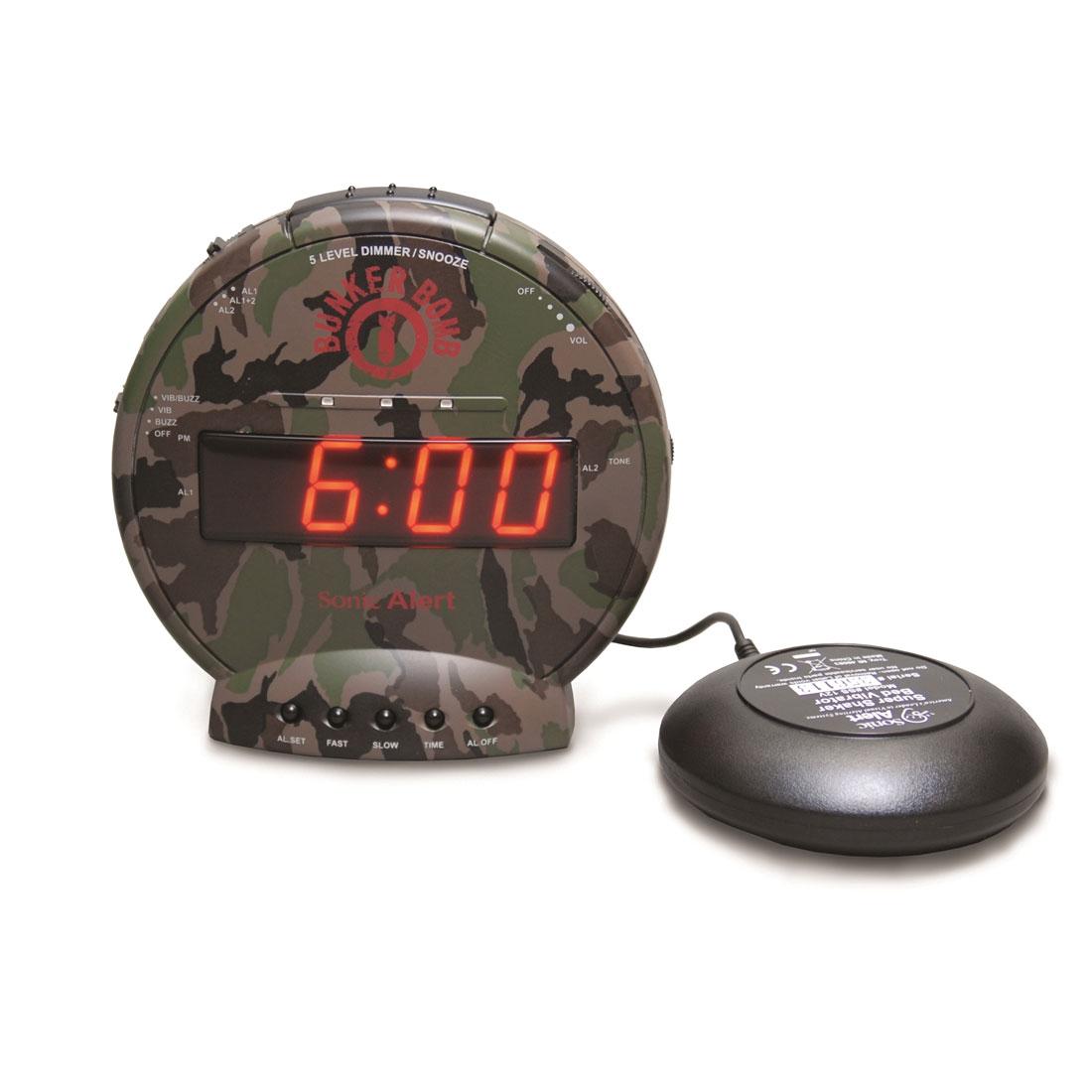 Sonic Alert Bunker Bomb Alarm Clock with Super Shaker SBC575SS