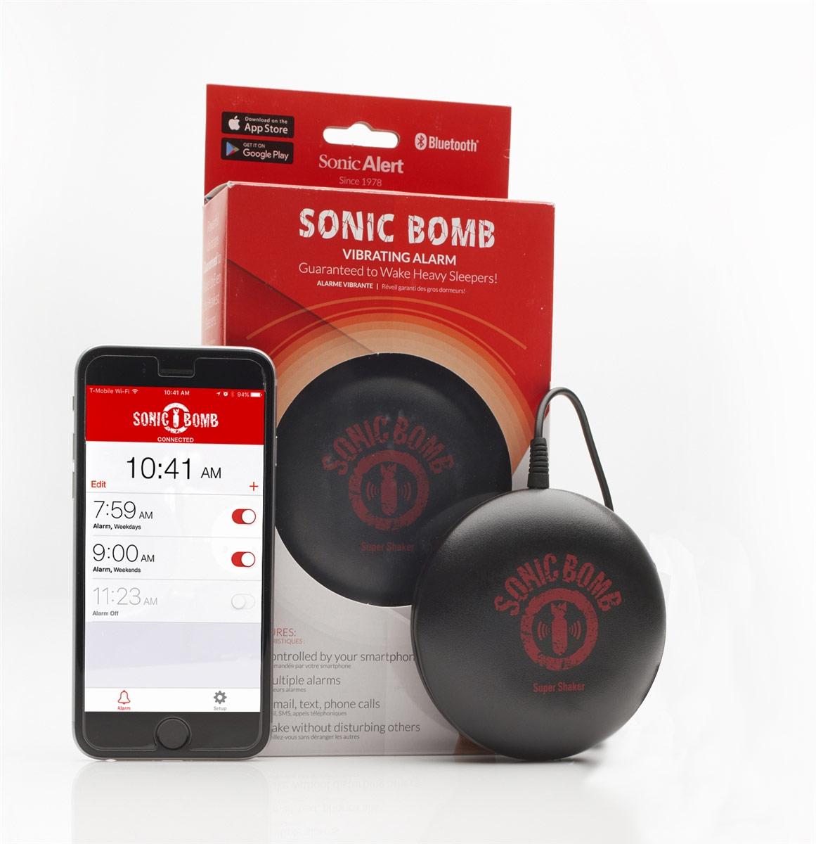 Sonic Bomb Bluetooth Super Shaker Vibrating Alarm - Battery-Powered