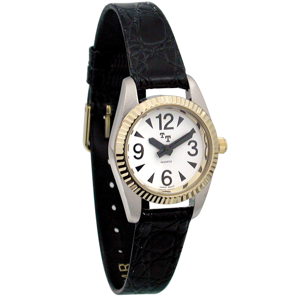 Low Vision Watch- Womens White Face, Leather Band