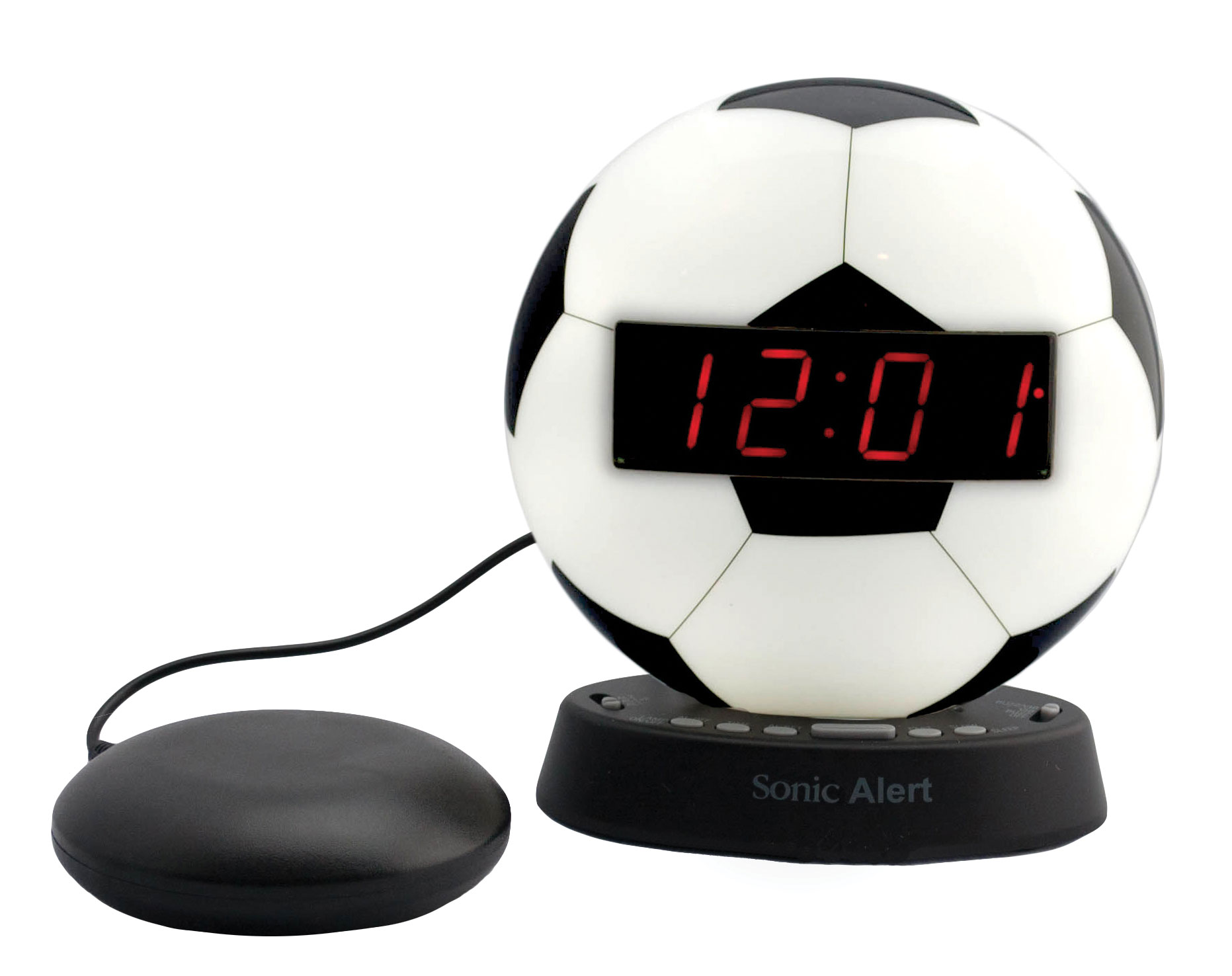 The Sonic Glow Soccer Ball Alarm Clock and Sonic Bomb Bed Shaker
