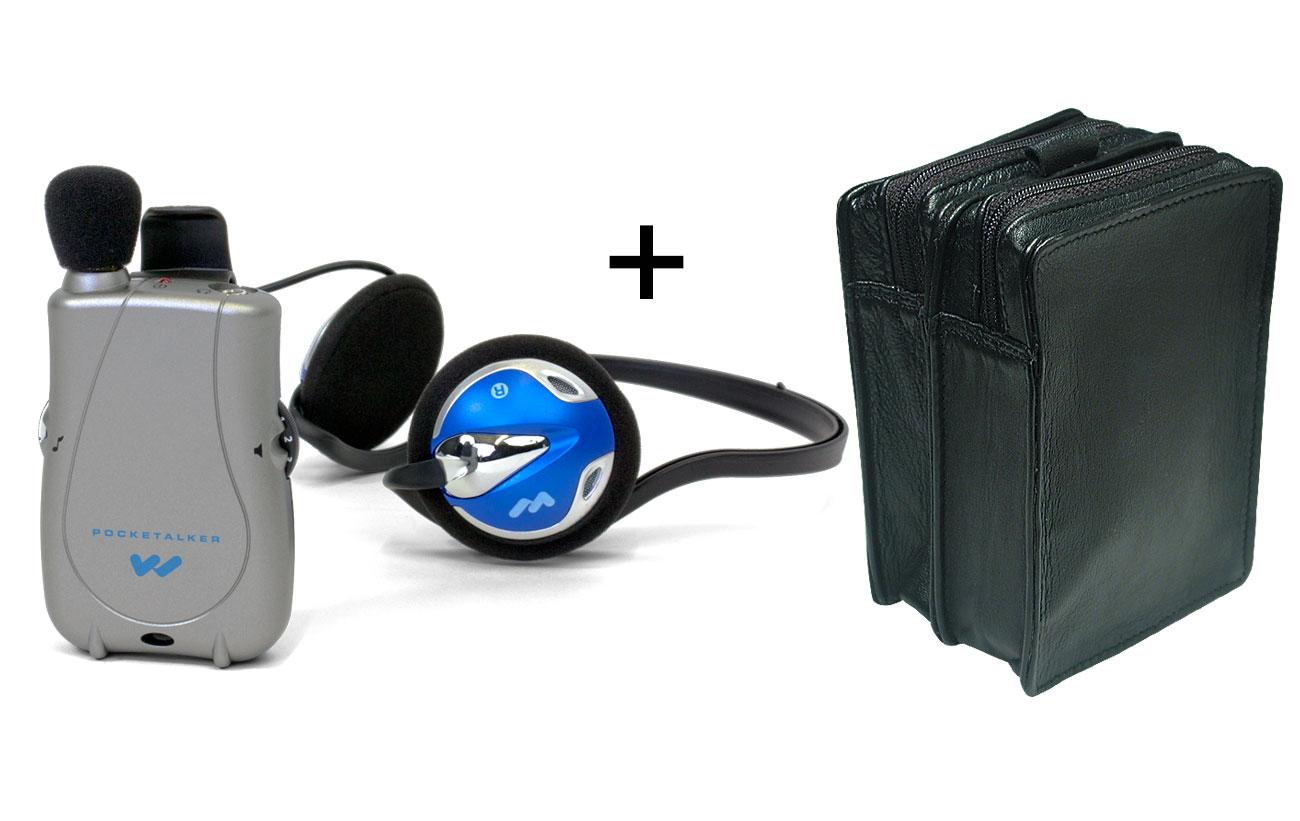 Pocketalker Ultra w-RearWear Headphones +Leather Case -MaxiAids Bundle