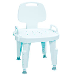 Bath Safe Adjustable Shower Seat with Arms and Back