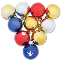 Assorted Color Round ILY Ornaments: Box of 10 Price: $11.99