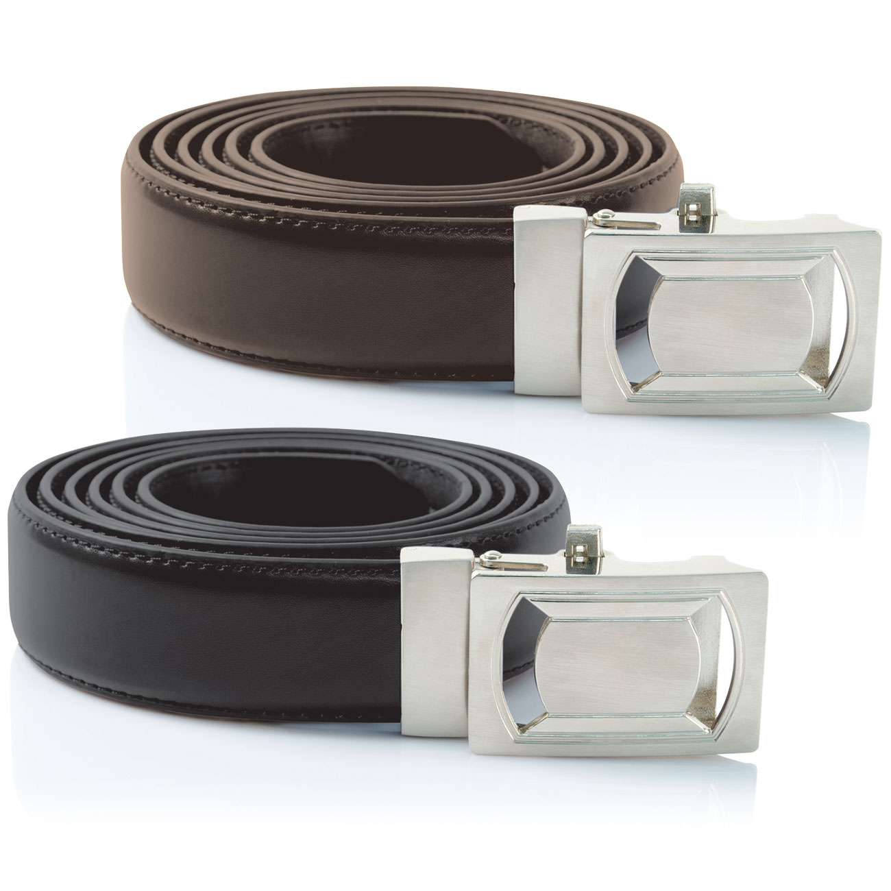 Ideaworks Custom Fit Belts- Black + Brown 2-Pack