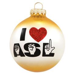 I Love ASL Glass Ornament