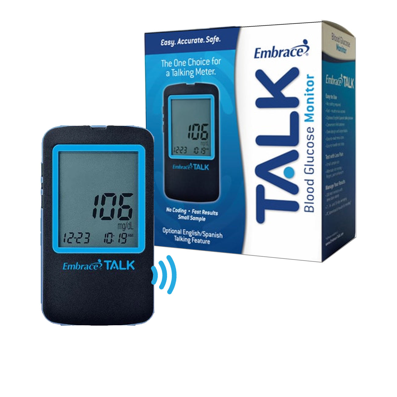 Embrace Talking Blood Glucose Monitoring System: Bilingual English/Spanish Price: $29.95