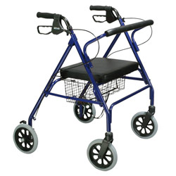 Drive Go-Lite Bariatric Steel 4-Wheel Rollator with Padded Seat - Blue