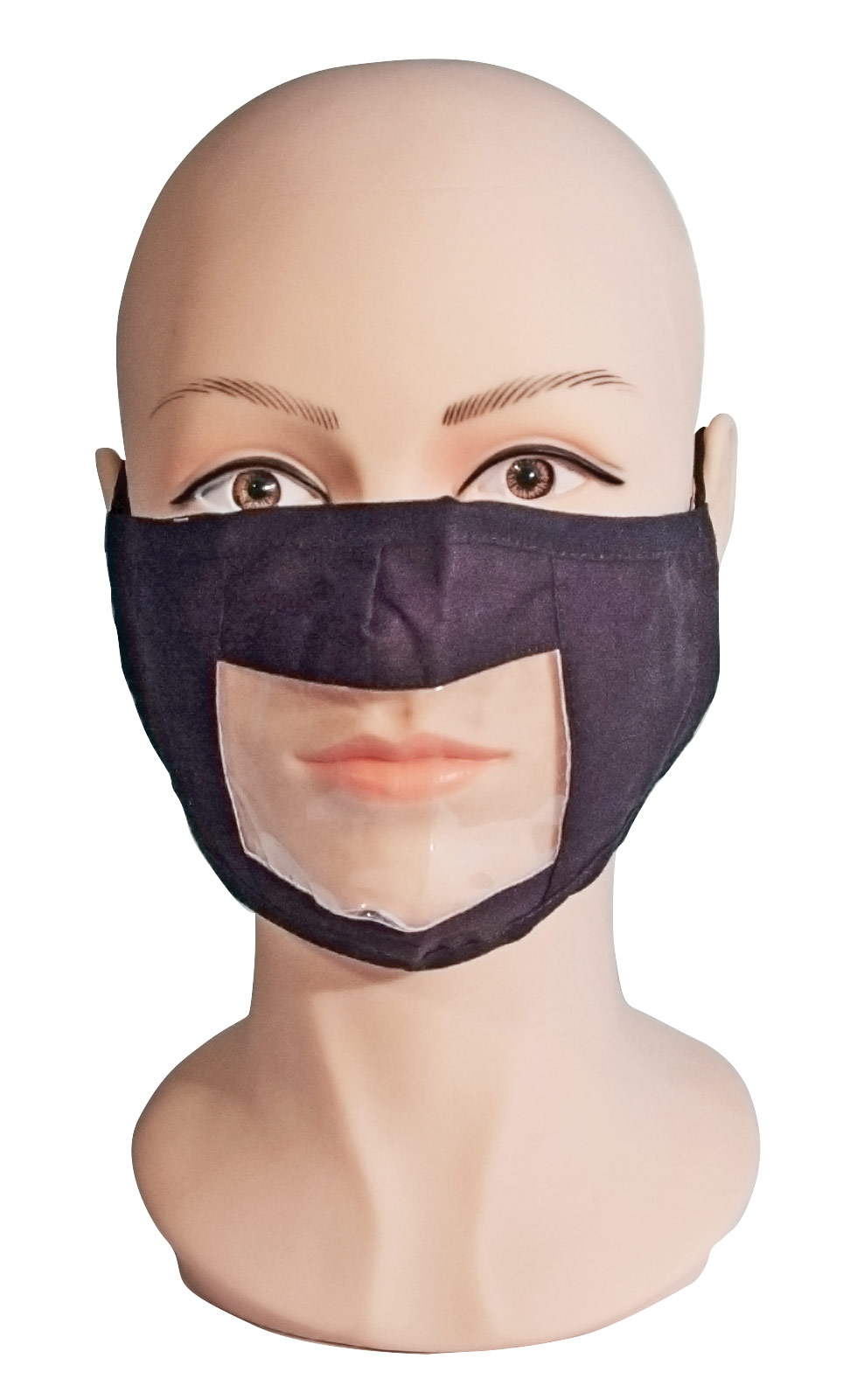 Black Reusable Face Mask with Clear Window