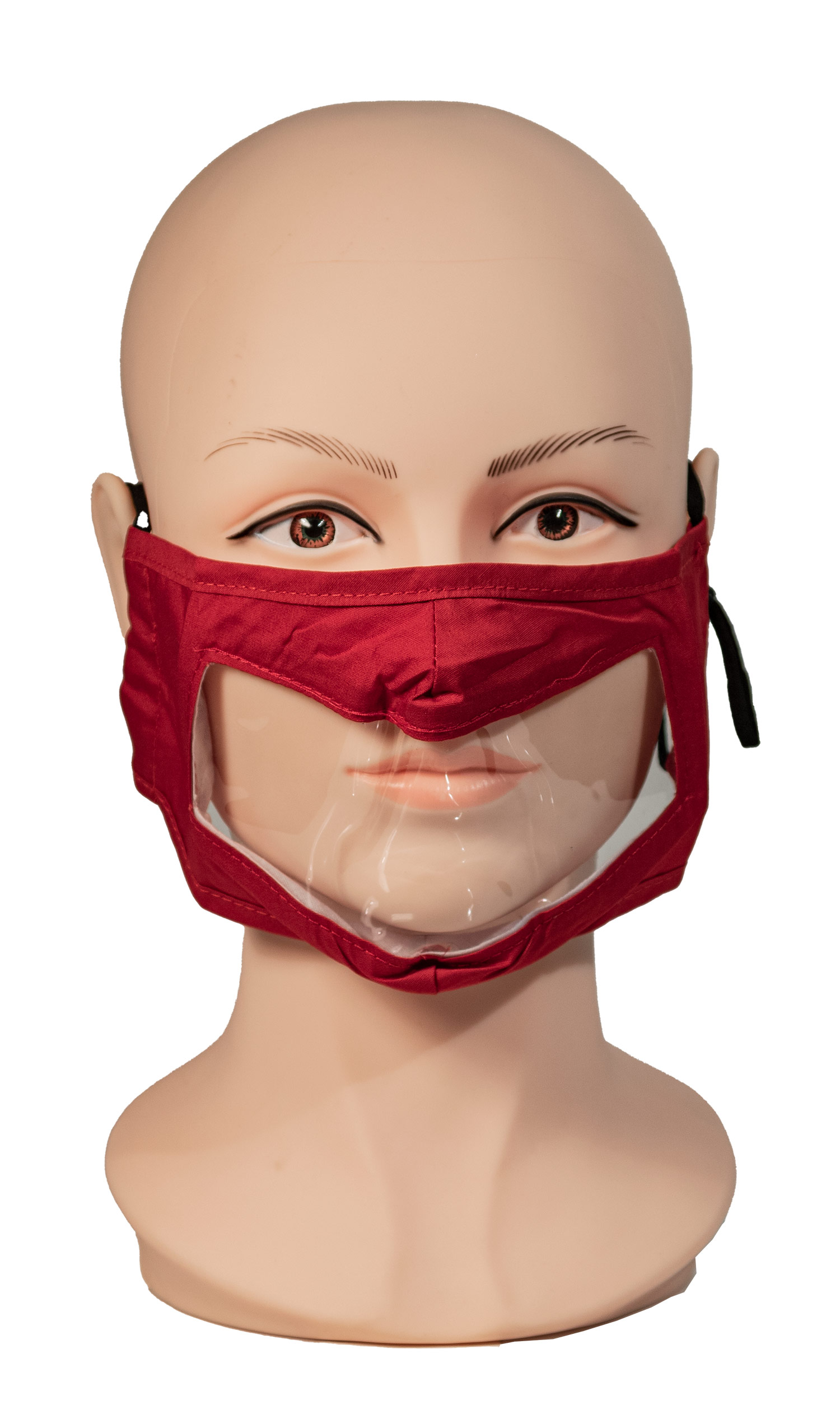Red Reusable Face Mask with Clear Window