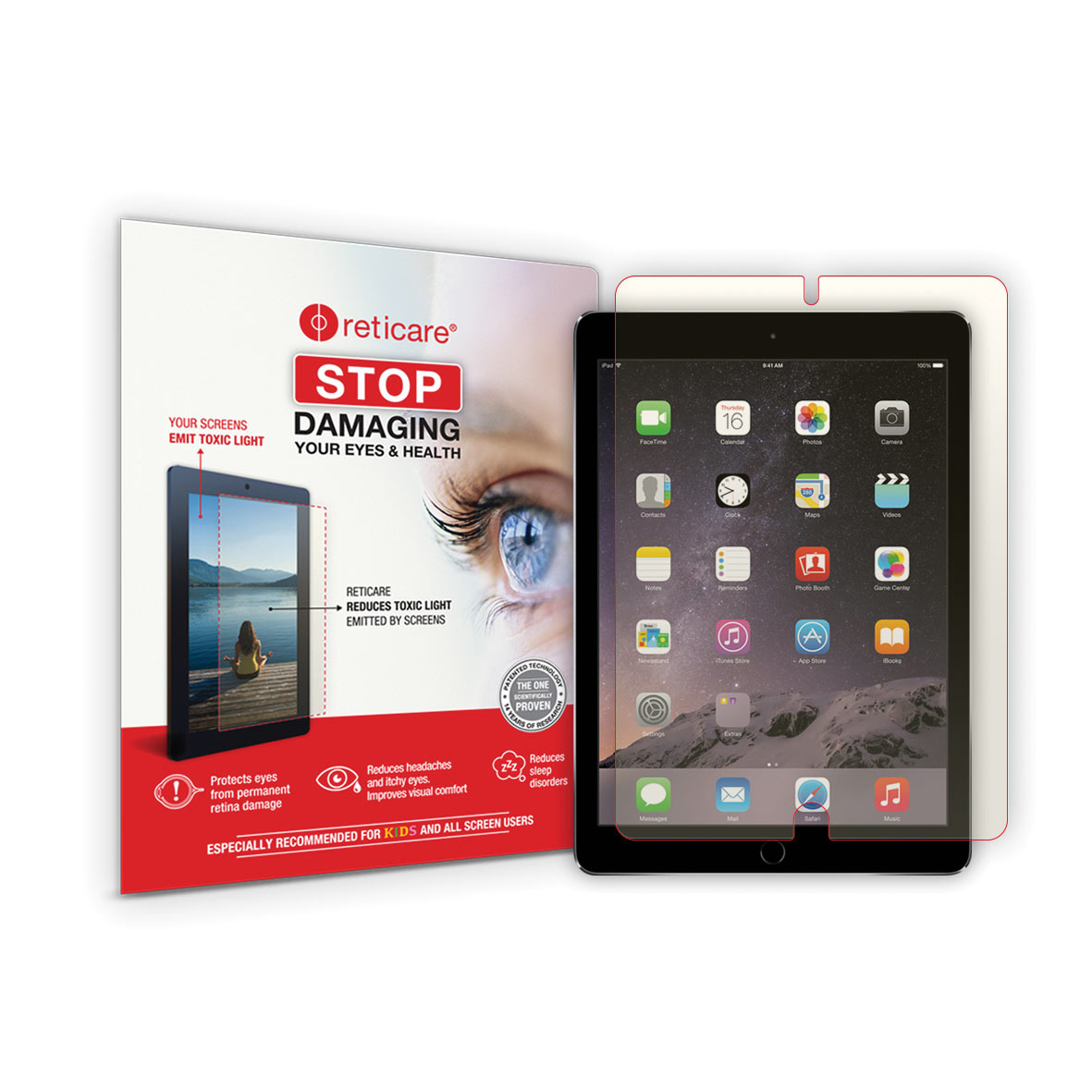 Reticare iPad 9.7 Air 2 Eye+Screen Blue Light Protector - Full Screen