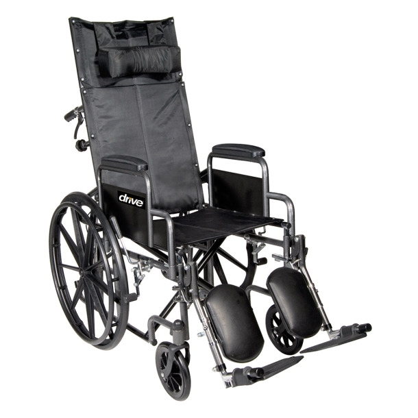 Chrome Sport Full-Reclining Wheelchair - 20 in. w-Desk Arms