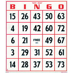 EZ to Read Bingo Cards -Set of 25 - click to view larger image