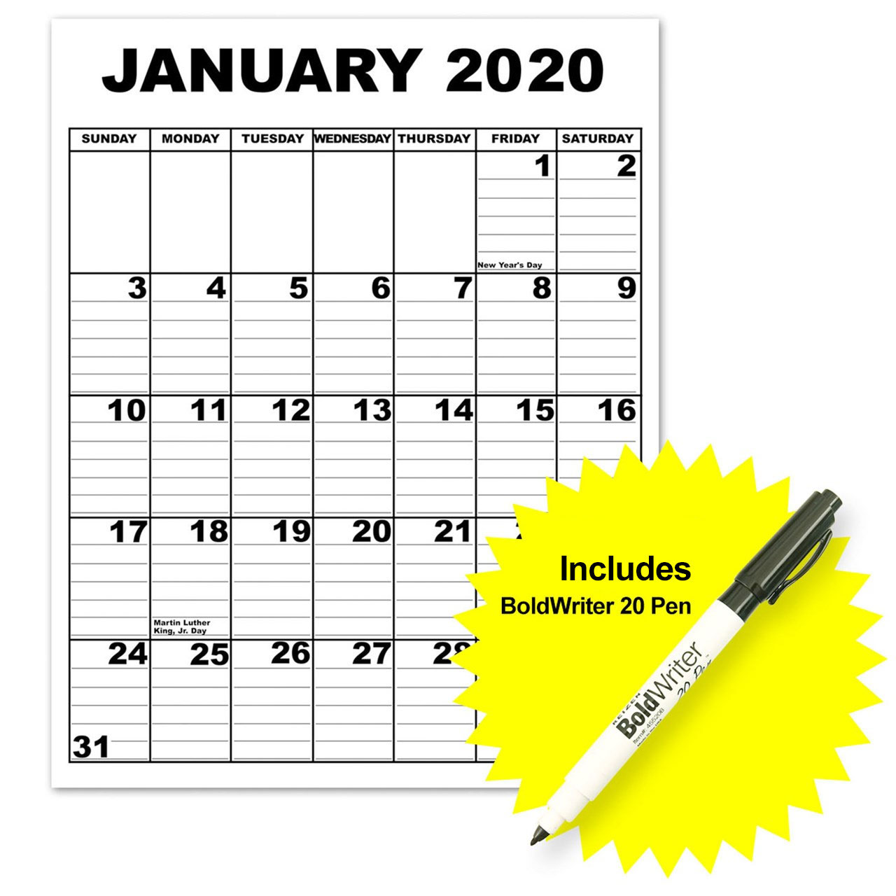 Giant Appointment Calendar 2020 with BoldWriter 20 Pen